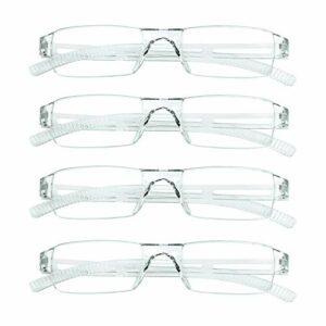 4 paires de lunettes de lecture, lunettes de blocage de lumière bleue, lunettes de lecture d'ordinateur pour femmes et hommes, monture de lunettes de mode rectangulaire (4 Transparent, 3.00)