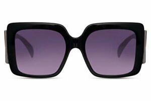 Cheapass Sunglasses Lunettes de soleil pour femme avec grands verres et branches extra larges et cadre large – Noir –