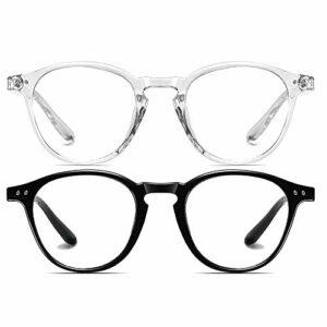 Dollger Blue Light Blocking Glasses Hommes Femmes Vintage Épais Rond Jante Cadre Lunettes(Noir + Transparent)