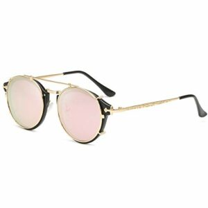 Dollger Double Lens Clip Sur Lunettes De Soleil Lentille Non Flip Ronde Style Steampunk Lunettes pour Hommes Femmes(Monture dorée + lentille rose)