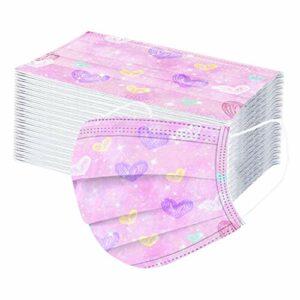 Générique 50Pcs Masque Tissu Enfants jetable 3 Couches Filtre Face Scarf avec des Boucles d'oreille Respirabilité Face Tissu Cute Cartoon Imprimé Visage_Masque
