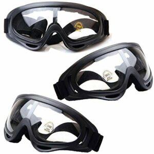 HONGCI Lot de 3 lunettes de sécurité, protection anti-buée & anti-UV, lunettes de protection transparentes, lunettes de protection de sécurité, lunettes de sécurité pour enfants Nerf, construction