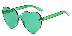 Inception Pro Infinite Lunettes de soleil coeur femme – femme – transparent – sans monture – polarisées – femme – fille – vert – idée cadeau originale