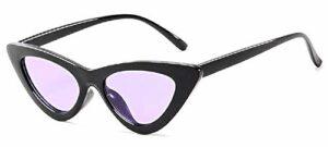 Inception Pro Infinite Lunettes de soleil femme chat – femme – vintage – papillon – rétro – femelle – fille – polarisée – mode – monture noire – uv400 – verres violets – idée cadeau originale