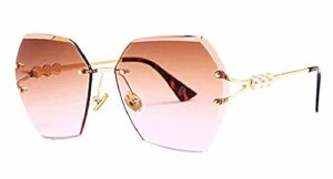 Inception Pro Infinite Lunettes de soleil pour femme – femme – vintage – hexagonale – colorée – polarisée – ombrée – femme – fille – verre rose marron – monture dorée – idée cadeau originale