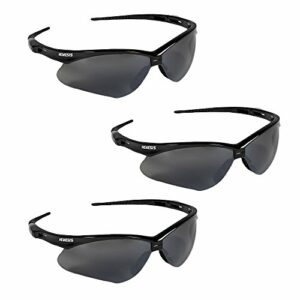 Jackson Safety V30 Nemesis Safety Glasses (25688), Smoke Mirror with Black Frame, 3-Pack