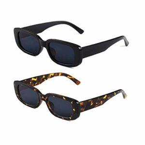 Long Keeper Lunettes de Soleil Rectangulaires Protection UV400 Lunettes de Conduite Rétro pour les Femmes (Noir+Gris Léopard)