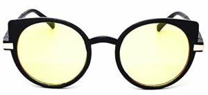 Lunettes de soleil chat femelle – femme – rond – yeux de chat – papillon – yeux de chat – vintage – femme – fille – années 60 – rétro – monture noire – mode – lentille jaune – idée cadeau