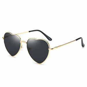 Lunettes de soleil coeur pour femme sans monture cadre en métal mince lunettes de soleil en forme de coeur UV400(Lentille noire + monture dorée)
