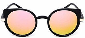 Lunettes de soleil femme chat – femme – rondes – yeux de chat – miroir – yeux de chat – femme – fille – papillon – rétro – vintage – mode – 60's – lentille miroir rose – monture noire