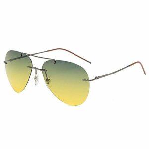 Lunettes de soleil polarisées pour hommes, miroir de conduite, miroir crapaud, alliage de titane, couleur jour et nuit, lunettes de soleil-cadre doré_ film jour et nuit