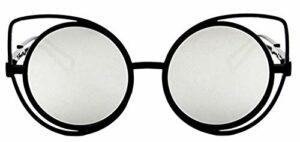 Lunettes de soleil rondes femme – femme – yeux de chat – chat – papillon – yeux de chat – vintage – femme – fille – mode – rétro – lentille miroir argent – monture noire – idée cadeau