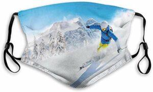 Masque coupe-vent confortable pour skieur, ski, descente en montagne, sports d'hiver extrêmes, activités de loisirs, décorations pour le visage imprimées pour tout le monde M