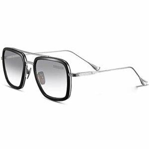 SHEEN KELLY Spider Man Rétro square des lunettes de soleil cadre métallique pour hommes et femmes lunettes de soleil classique downey iron man Gris clair lens
