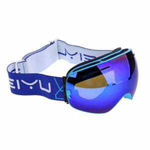 SM SunniMix Lunettes de Ski Professionnelles Protection Contre La Neige UV Unisexe/Chiffon de Nettoyage Réglable – Blue Monture Verre de Lunette Bleu VLT 18.4%, 17.5 x 9.5cm