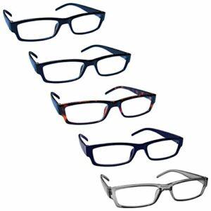 The Reading Glasses Lunettes de Lecture Valeur Set de 5 Léger Hommes Femmes Noir Brun Foncé Bleu Gris RRRRR32-11237 +3,00