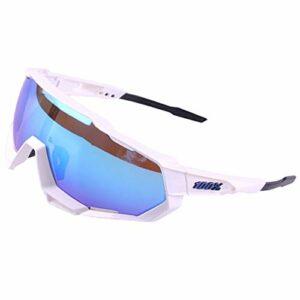 ZLUCKHY Lunette de Soleil Sport pour Running Vélo Cyclisme Lunettes Polarisées Anti-buée Anti UV Antireflet avec Verres Léger Durable (Color : Blue-A)