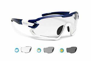 Bertoni Lunettes Cyclisme Vélo Running MTB Ski Mod. Quasar (Bleu-Blanc/Photochromique)