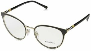 BURBERRY 0BE 1324 1262 52 Montures de lunettes, Black/Light Gold, Femme