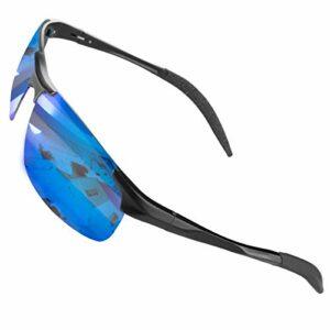 CHEREEKI Lunettes de Soleil Sport, Lunettes de Soleil Polarisées Cyclisme avec Protection UV400 pour hommes et femmes (Bleu)