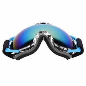 DAUERHAFT MSD74W Grandes Lunettes de Ski en éponge Haute densité avec Cadre imprimé pour Les Sports de Plein air(Blue Frame)