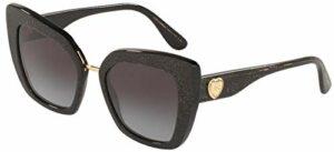 Dolce & Gabbana 0DG4359 Lunettes de Soleil, Glitter Gold Striped Black, 52 Femme