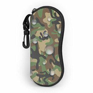 Étui souple pour lunettes de soleil pour femmes et hommes, étui à lunettes à glissière en néoprène ultra léger avec clip de ceinture, icône de tissu de camouflage imperméable