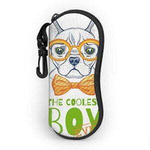 Étui souple pour lunettes de soleil pour femmes et hommes, étui à lunettes à glissière en néoprène ultra léger avec clip de ceinture, lunettes Bulldog