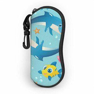 Étui souple pour lunettes de soleil pour femmes et hommes, étui à lunettes à glissière en néoprène ultra léger avec clip de ceinture, méduses, dauphins et autres animaux marins