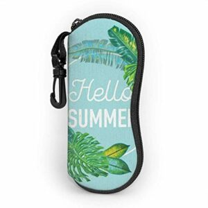Étui souple pour lunettes de soleil pour femmes et hommes, étui à lunettes à glissière en néoprène ultra léger avec clip de ceinture, tropiques verts d'été