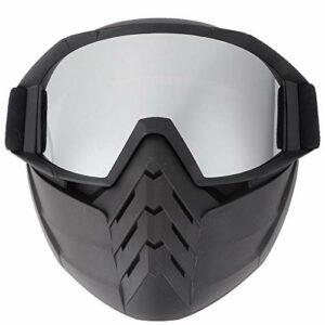 ffu Lunettes De Protection, Masque De Pare-Brise pour Motocyclettes De Ski De Neige d'hiver (Argent)