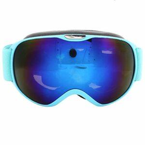ffu Lunettes de ski anti-buée et coupe-vent à double verre bleu