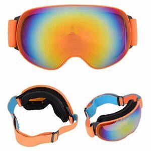 FOLOSAFENAR Cadre en TPU de Lunettes de Ski Anti-buée de Haute qualité pour Tous Les Types de Sports d'hiver avec Un Port(Orange Framed Orange Full REVO Red Film)