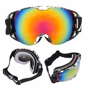 FOLOSAFENAR MSD74W Grandes Lunettes de Ski TPU Cadre imprimé matériel pour Les Sports de Plein air(Black Frame)