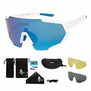 FREE SOLDIER Lunette Polarisante avec 3 Lentilles Interchangeables pour Hommes Lunette de Cyclisme UV400 Lunette Velo Route Légères en Randonnée Voile Pêche Conduite(Blanc + Bleu)