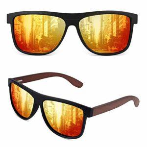GQUEEN Lunettes de soleil polarisées classique en bois pour hommes femmes protection UV MOS07