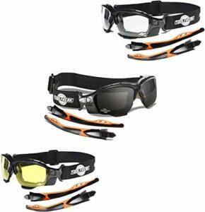 Lunettes de sécurité ToolFreak Spoggles pour le travail et le sport, verres transparents, offre Mega Bundle fumée et jaune, avec protection contre les chocs et les UV