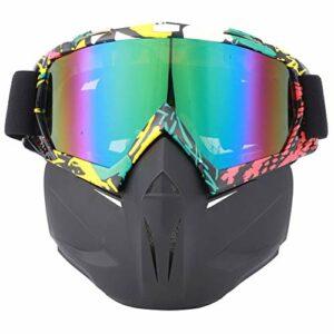 Moto Face Guard Sports De Plein Air Cyclisme Lunettes Coupe-Vent Casque Ski Lunettes Jaune Rouge