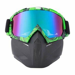 Moto Face Guard Sports De Plein Air Cyclisme Lunettes Coupe-Vent Casque Ski Lunettes Noir Vert