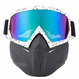 Moto Visage Garde Sports De Plein Air Cyclisme Lunettes Coupe-Vent Casque Ski Lunettes Cadre Blanc Noir