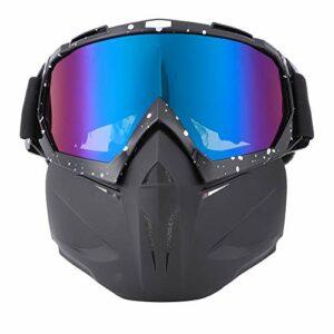 Moto Visage Garde Sports De Plein Air Cyclisme Lunettes Coupe-Vent Casque Ski Lunettes Noir Cadre Blanc