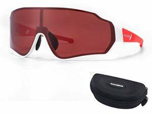 RockBros Lunettes de Cyclisme Polarisées HD Lunettes de Soleil Colorées Coupe-vent avec Protection UV400 pour Course Pêche Golf Randonnée Ski Rouge Brun Jaune Coloré