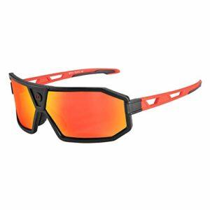 RockBros Lunettes de Cyclisme Polarisées Lunettes de Soleil Protection Rectangles Goggles pour Sports de Plein Air Moto Ski Snowboard Pêche Golf Hommes Femmes Noir Rouge