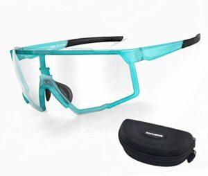 RockBros Lunettes Transparentes de Cyclisme Décoloration Intelligente en PC Goggles Rectangles pour Sports de Plein Air Vélo Cyclime Moto Pêche Ski Snowboard Golf Bleu Hommes Femmes