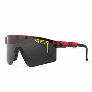 Tentiy Pit-Viper Sunglasses, Lunettes Unisex avec Protection UV Unisexe Vélo À Coupe-Vent De Plein Air Pêche Golf Eyewear Pêche en Plein Air Pêche Verres De Baseball pour Femmes Et Hommes