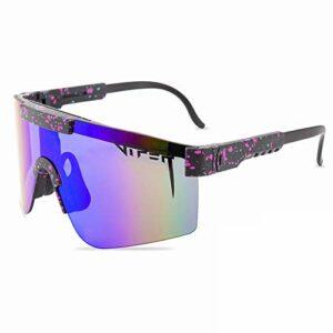 Tletiy Lunettes Soleil Pit-Viper, Protection UV400 en Plein Air Glasse Double Cadre TR90 Polarisée Polarisée À Double Large pour Hommes Femmes Unisexe Extérieure À Vent Vélo Pêche Pêche Golf Eyewear
