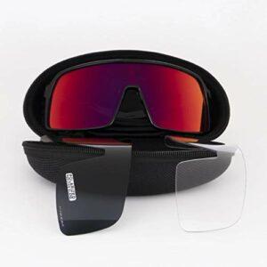 WSZOK Lunettes de soleil de sport polarisées avec 3 verres de protection pour cyclisme, escalade, pêche, conduite, golf, coupe-vent