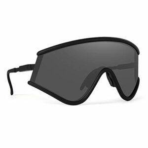 ZPL Lunettes De Soleil Polarisées Cyclisme Lunettes Anti-UV Coupe-Vent Sable Large Angle Dureté Haute Définition Qui Convient pour Extérieur Équitation,Black Framed Gray Film
