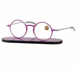 ZZAI Lunettes de lecture Papier anti-Blu-ray/ultra-léger TR90 anti-fatigue rétro cadre ronde lecture lunettes hommes et femmes – diopter + 1,0 + 1,5 + 2,0 + 2,5 + 3,0 violet- 2.5