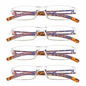 4 paires de lunettes de lecture, lunettes de blocage de lumière bleue, lunettes de lecture d'ordinateur pour femmes et hommes, monture de lunettes de mode rectangulaire (4 Écaille de tortue, 2.50)